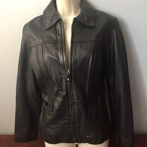 Guess Leather black sport zip up Jacket size M